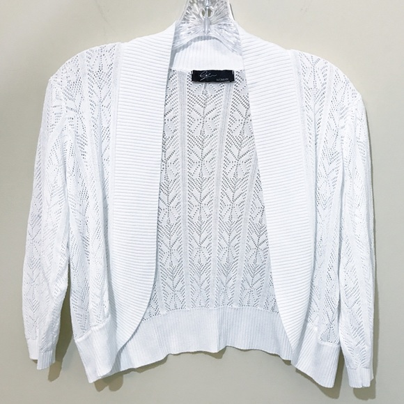 386278d637 Cyrus Sweaters | White Pointelle Knit Open Front Shrug 1x | Poshmark